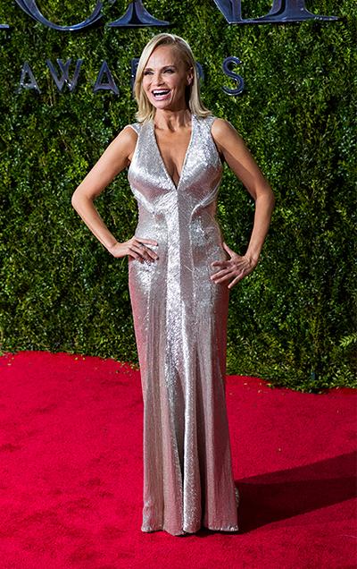 Kristin Chenoweth stuns in silver beaded Zac Posen gown.