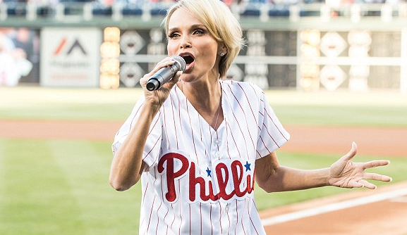Star in stripes! Kristin Chenoweth in Phillies shirt for powerhouse performance of national anthem
