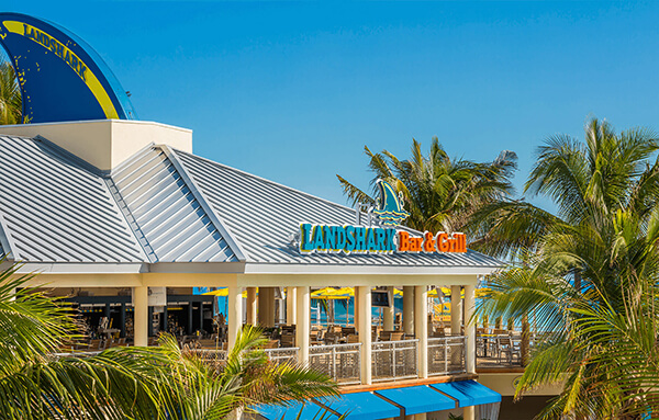 Building with a sign LandShark Bar & Grill