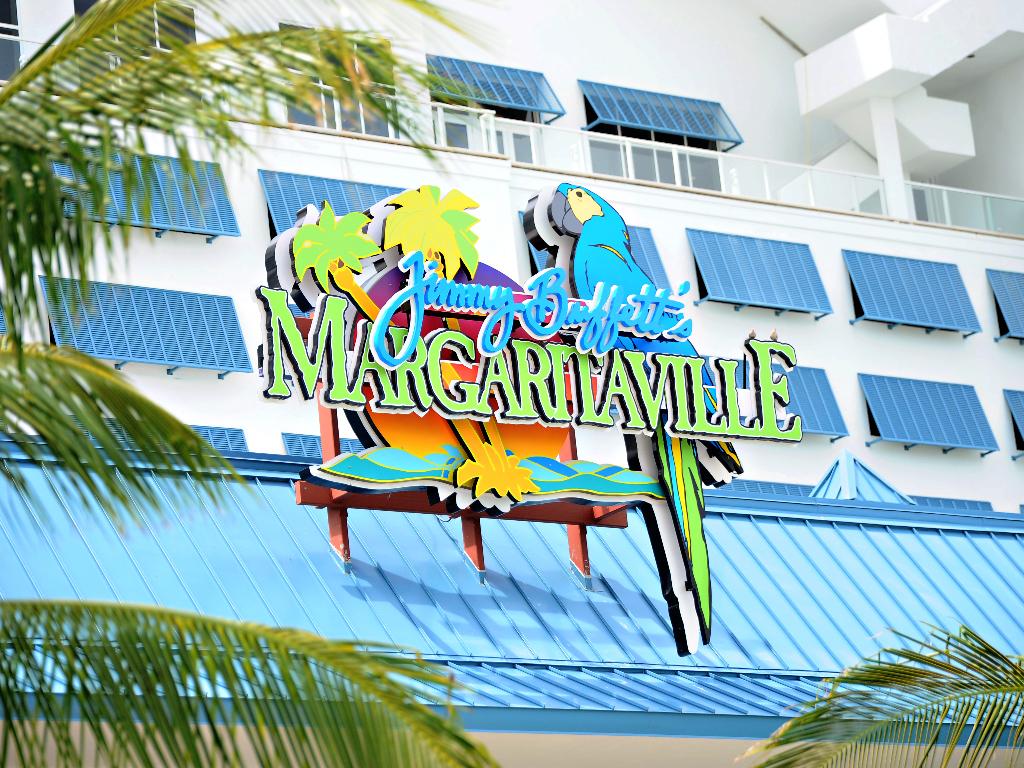 Jimmy Buffett's Margaritaville Restaurant rooftop logo