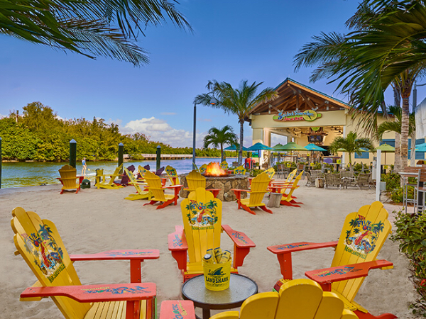 Bright yellow wooden chairs on the beach