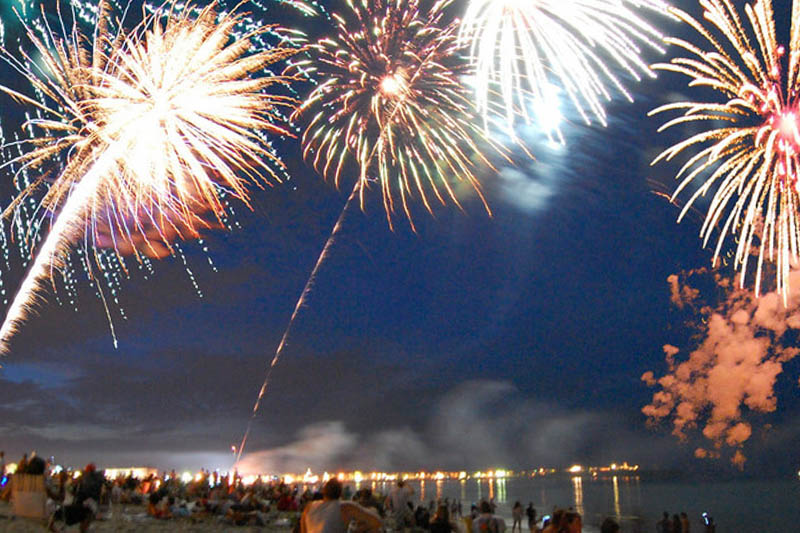Fireworks over the beach after at night