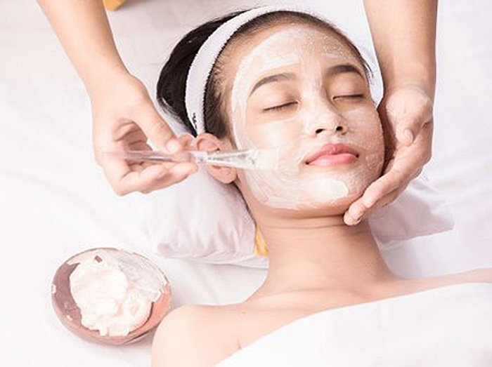 Woman enjoying a facial