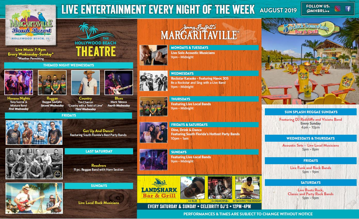Margaritaville Hollywood Beach Resort August Calendar of Events. Visually impaired customers please call 954-874-4444 for assistance or download our accessible pdf (next link on this page)