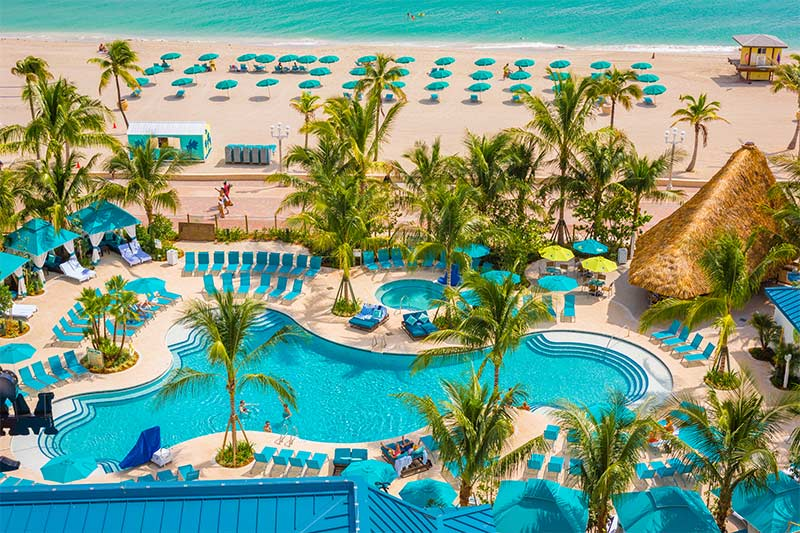 The pool and beach at Margaritaville Hollywood Beach Resort