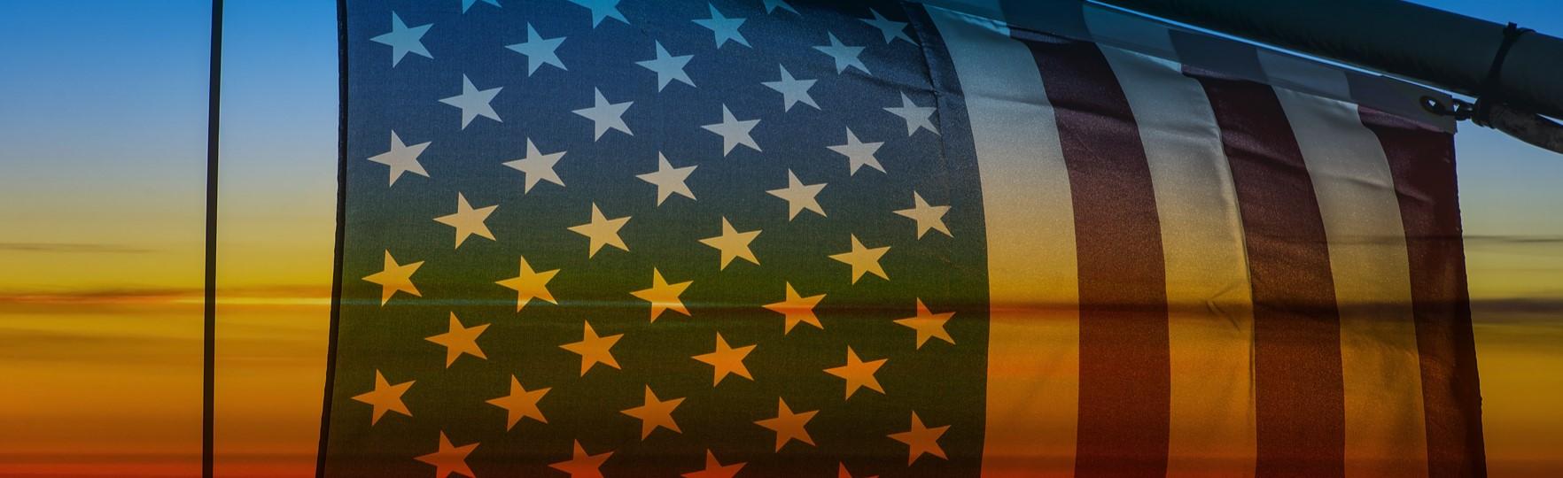American flag flying over ocean at Margaritaville Hollywood Resort