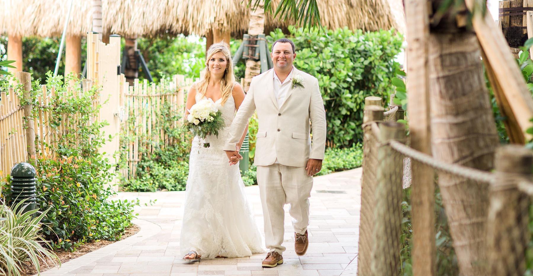 Wedding couple walking outdoors
